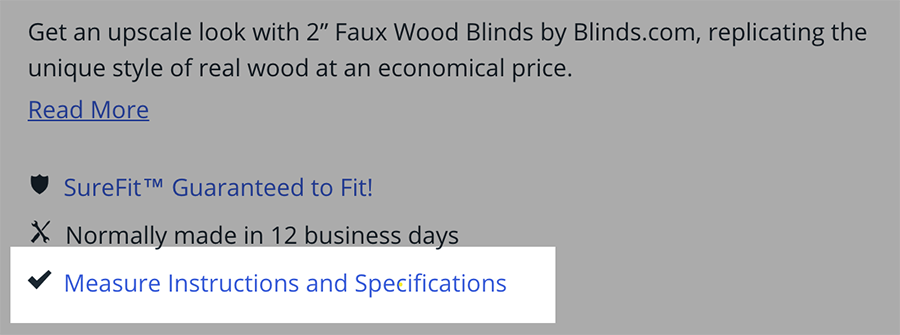 Screenshot showing where to find a product's Measuring Instructions and Specifications on the Blinds.com website.