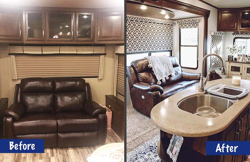 Before and after shots of Tiny Home Hailey's modern, rustic RV living room makeover.