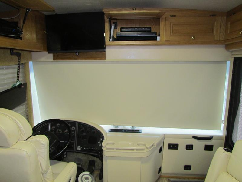 blackout roller shade in windshield of RV