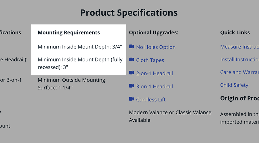 Screenshot from Blinds.com site showing where to find the depth requirements for a blind or shade.