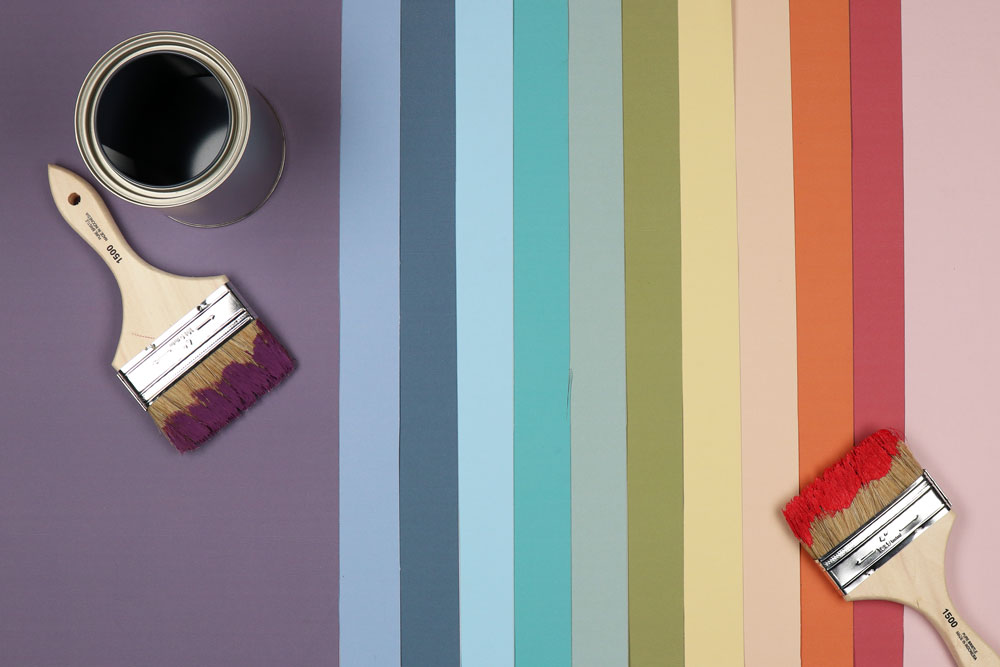 Roller Shade sample colors (left to right: Spectrum Grape, Spectrum Lakeshore, Spectrum Surf, Spectrum Sky, Spectrum Gulf, Spectrum Fern, Spectrum Moss, Spectrum Sunflower, Spectrum Blossom, Spectrum Ember, Spectrum Raspberry, Spectrum Camellia) arranged to form a rainbow staged with paintbrushes and paint can.