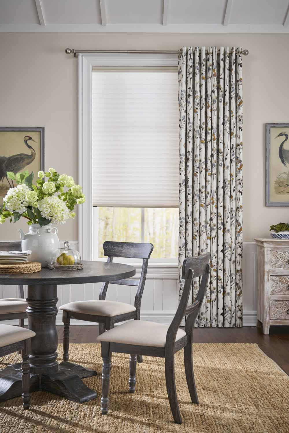modern farmhouse breakfast nook with floral curtains