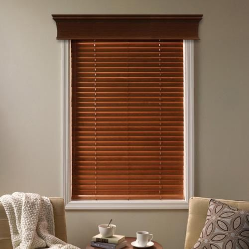 window cornice over wood blinds