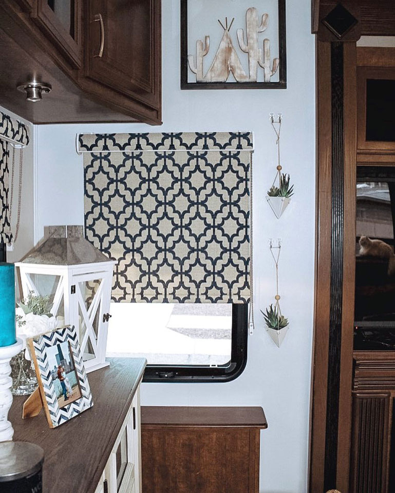 rv window with fabric roller shades