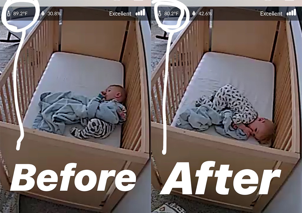 Before and After from baby Monitor showing 10-15 degree temperature drop in Ezra's nursery after installing Levolor Light Filtering Cellular Shades.