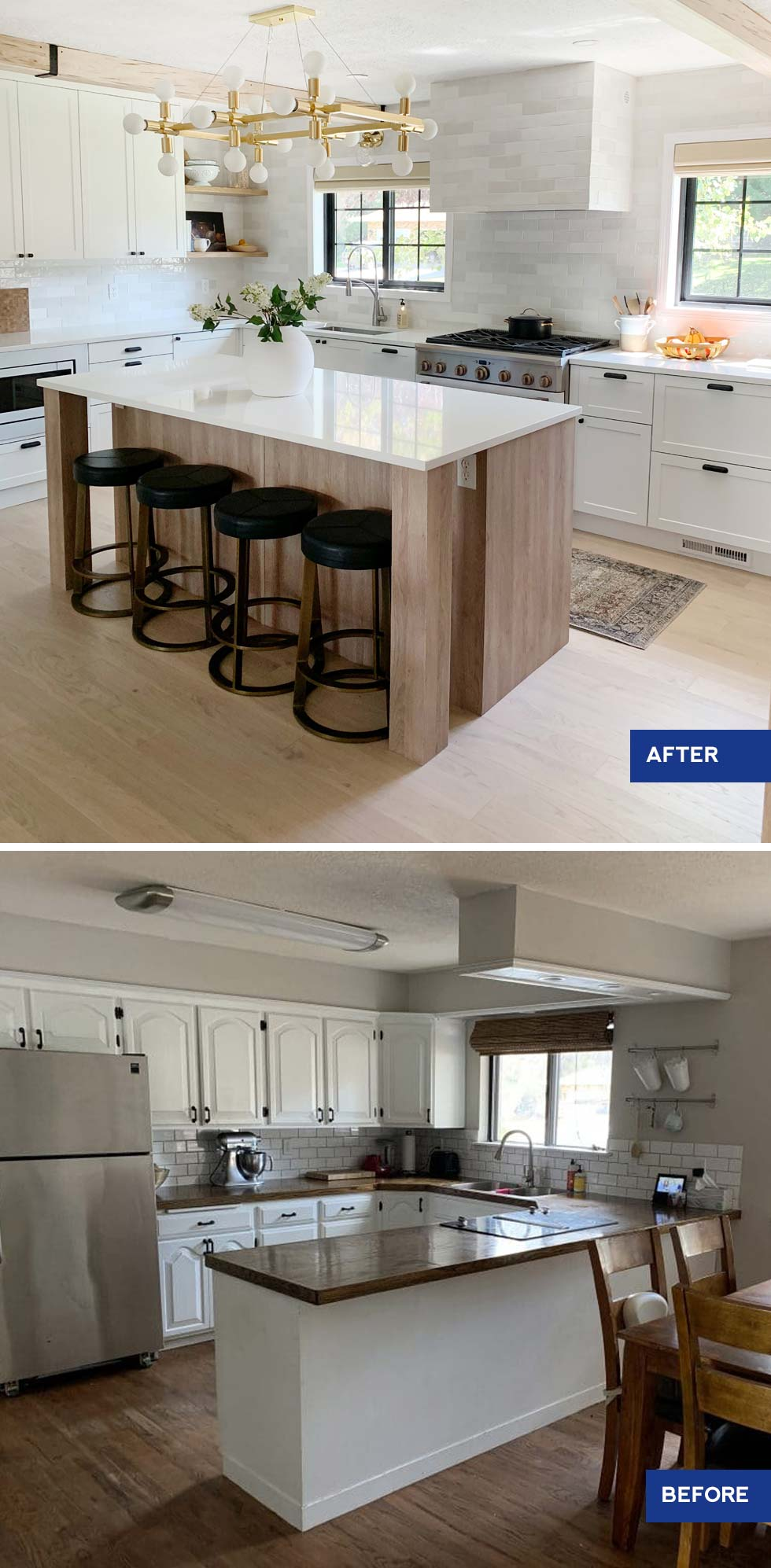 before and after shot of kitchen renovation with island and light wood cabinets