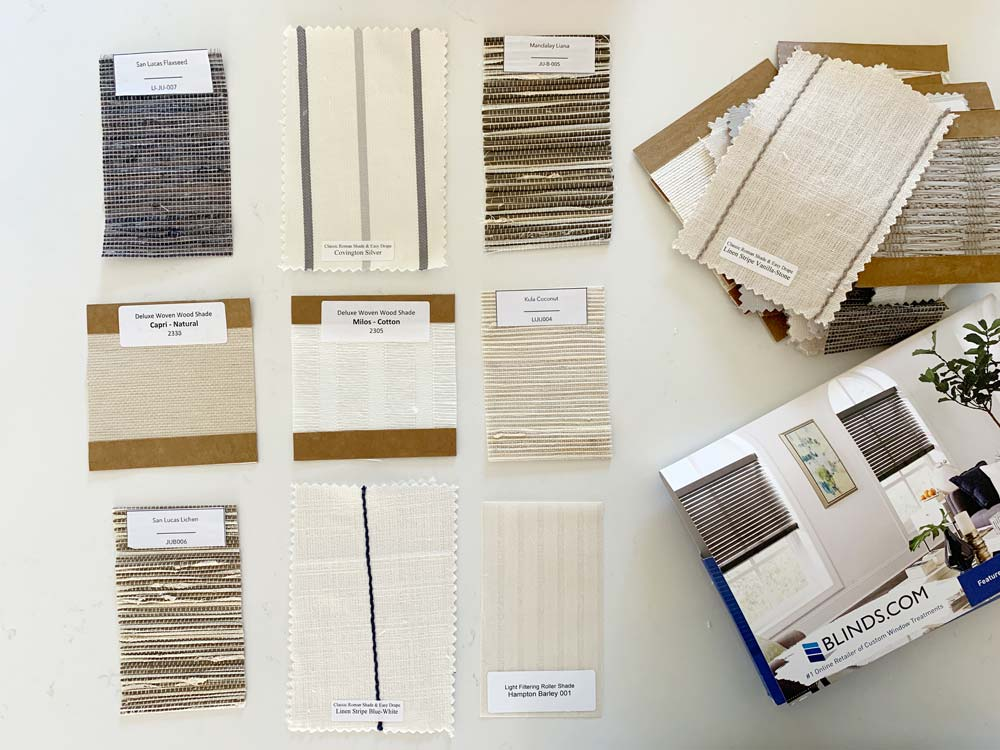 samples for window covering materials on tabletop